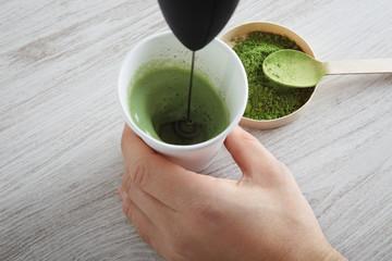 Matcha latte preparation step four