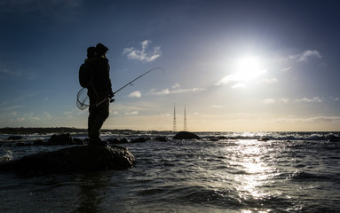 Sea winter fishing on Swedish coast