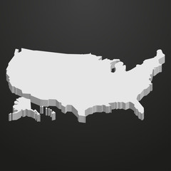 USA map in gray on a black background 3d