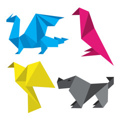 Poster Geometric animals Origami in printing inks. Four simple stylized origami models in printing inks. Concept for presenting of color printing. Vector available.