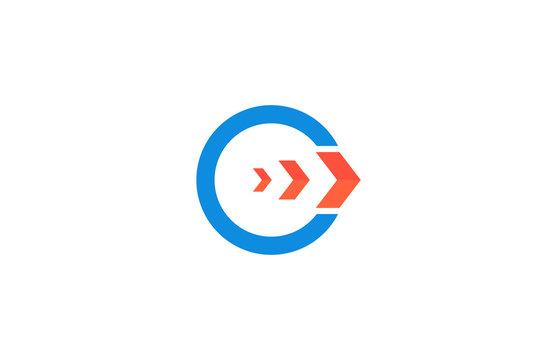 round arrow letter G logo