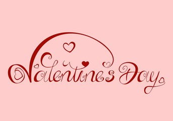 Valentines Day - pink red  Lettering Logo English and American, etc. - writing element