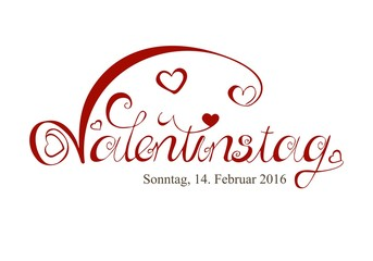 Valentinstag - 14.02.2016 - Schreibschrift mit vielen Schnörkeln Verzierungen und Herzen