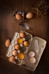chicken eggs flat lay still life rustic with food stylish