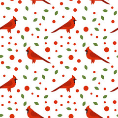 Vector seamless pattern with beautiful cardinals