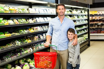 Father and son at the supermarket