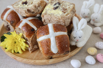 Easter Hot cross buns with easter eggs and bunny
