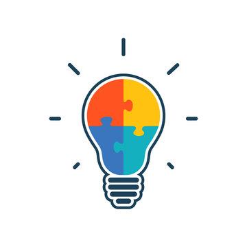 Simple flat light bulb icon.