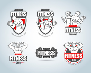 Fitness logo templates set. Gym club logotypes. Sport Fitness club creative concepts. Gym club logotypes. Bodybuilder, Sportsman Fitness Model Illustration, Sign, Symbol, badge.