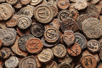 Ancient Byzantine copper coins top view