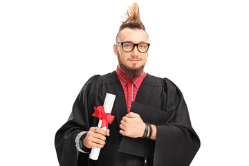 College graduate with a Mohawk hairstyle