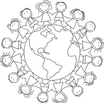 kids holding hands on world , kids illustration - children drawing