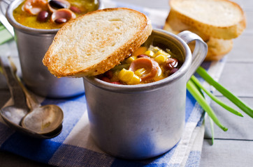 Soup with vegetables and sausages