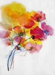 mohnblumen malerei aquarell