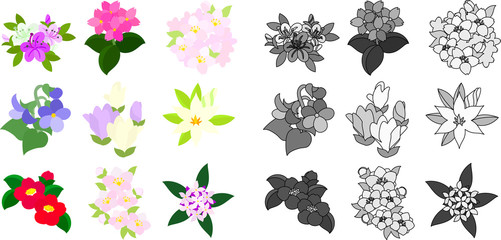Cute icons of various flowers