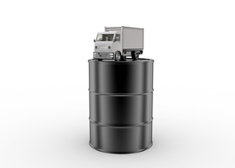 Oil barrel with mini truck