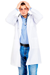 Tired doctor on white background