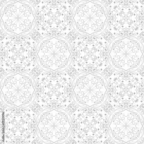 Low Contrasting Vintage Ornament Gray Drawing On White Background Repeating Filigree Geometric Patterns In