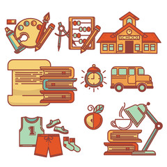 educartion collection, vector line art objects and icons