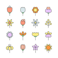 Flowers outline multicolored vector icons set. Modern minimalistic design.