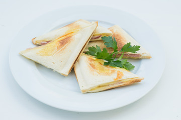 Sandwich egg and parsley. Tasty cooked food always brings joy and pleasure . Satisfy your hunger will help in the form of snacks and sandwiches stuffed pancakes .