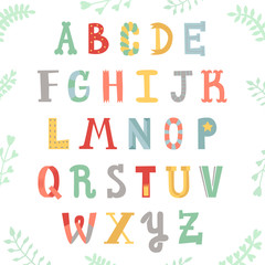 Funny handwritten multicolored alphabet. Lettering with plants. Hipster and vintage style. Perfect for your design!