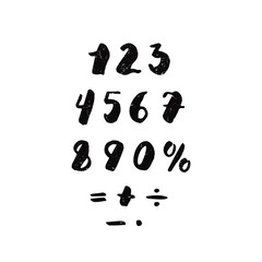 Numbers and arithmetic signs ink handwritten textured lettering. Hipster and vintage style. Perfect for your design!