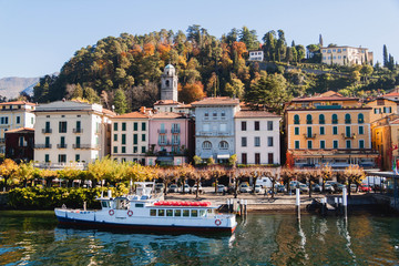 View of Bellagio town. Lake and mountains. Como Lake, Italy.