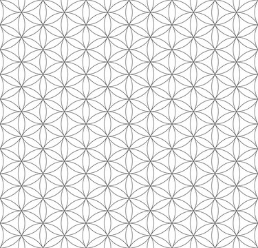 black outline flower of life sacred geometry pattern.