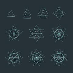 triangle contour various sacred geometry set.