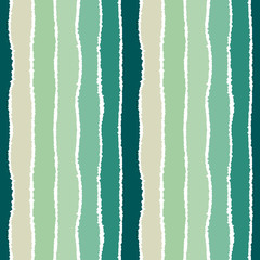Striped seamless pattern. Vertical wide lines with torn paper effect. Shred edge band background. Turquoise, beige pastel colors. Vector