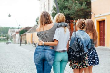 Girls walking around