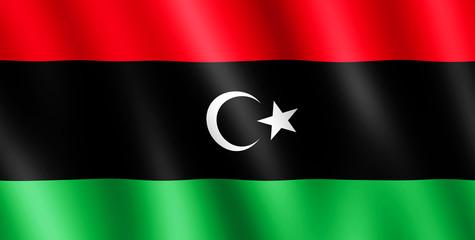 Flag of Libya waving in the wind