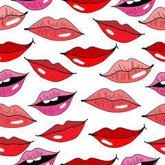 Seamless pattern with lips on white background