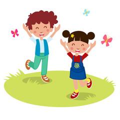 Vector illustration of Happy kids cartoon, vector