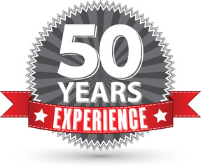 50 years experience retro label with red ribbon, vector illustra