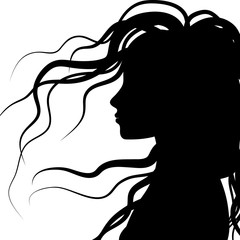 silhouette profile of hair, vector