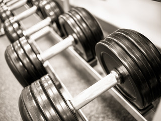 Dumbbell Weights on a Rack