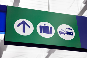 Airport Directional Baggage and Transportation Sign