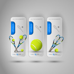 Realistic tennis objects on the gray business banners as design