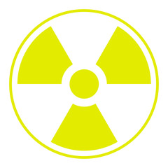 symbol of radioactive contamination with highlights on a white background, danger