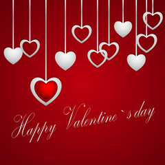 Happy Valentine's Day, hanging hearts on a red background, shadows