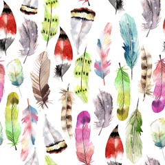 watercolor fantastic feathers pattern