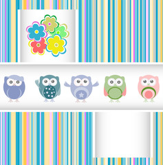 owls, birds and flowers - vector holiday card
