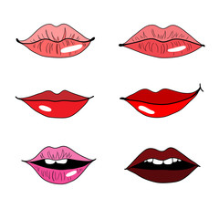 Set of lips on white background