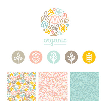 Vector set of logo design templates, seamless patterns and signs