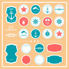 Set of sea and nautical labels, badges.