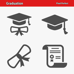 Graduation Icons. Professional, pixel perfect icons optimized for both large and small resolutions. EPS 8 format.