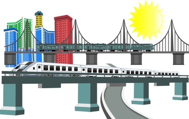 3D bridge and train,City buildings view vector illustration, , buildings, ,bridges, trains, sun. Isolated on white vector illustration.