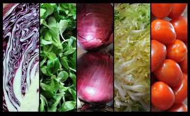 salad onion lettuce tomato red hood, five vegetables